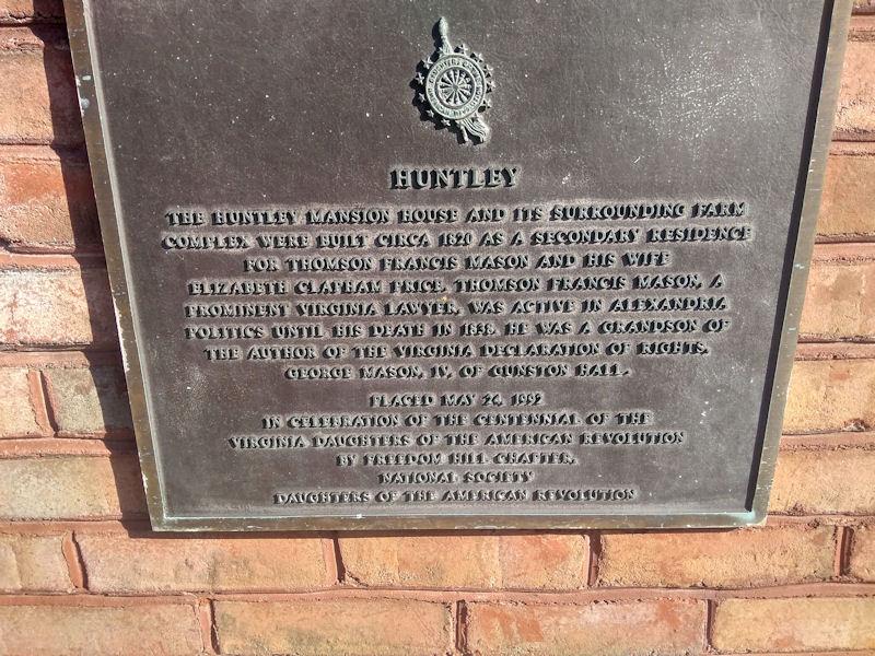 Plaque at Huntley Mansion
