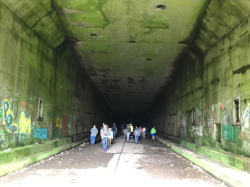 Hikers in Rays Hill Tunnel east side