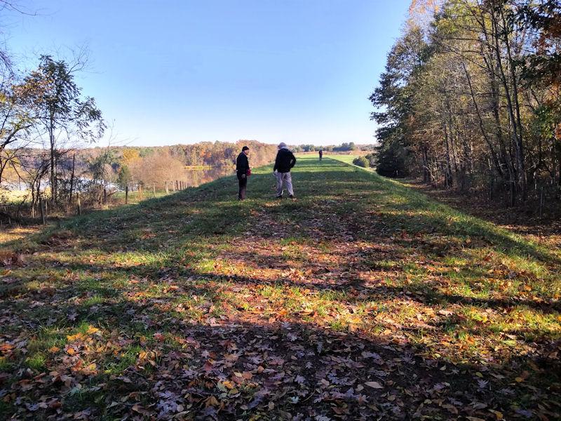 Hiking on Germantown Lake, VA dam
