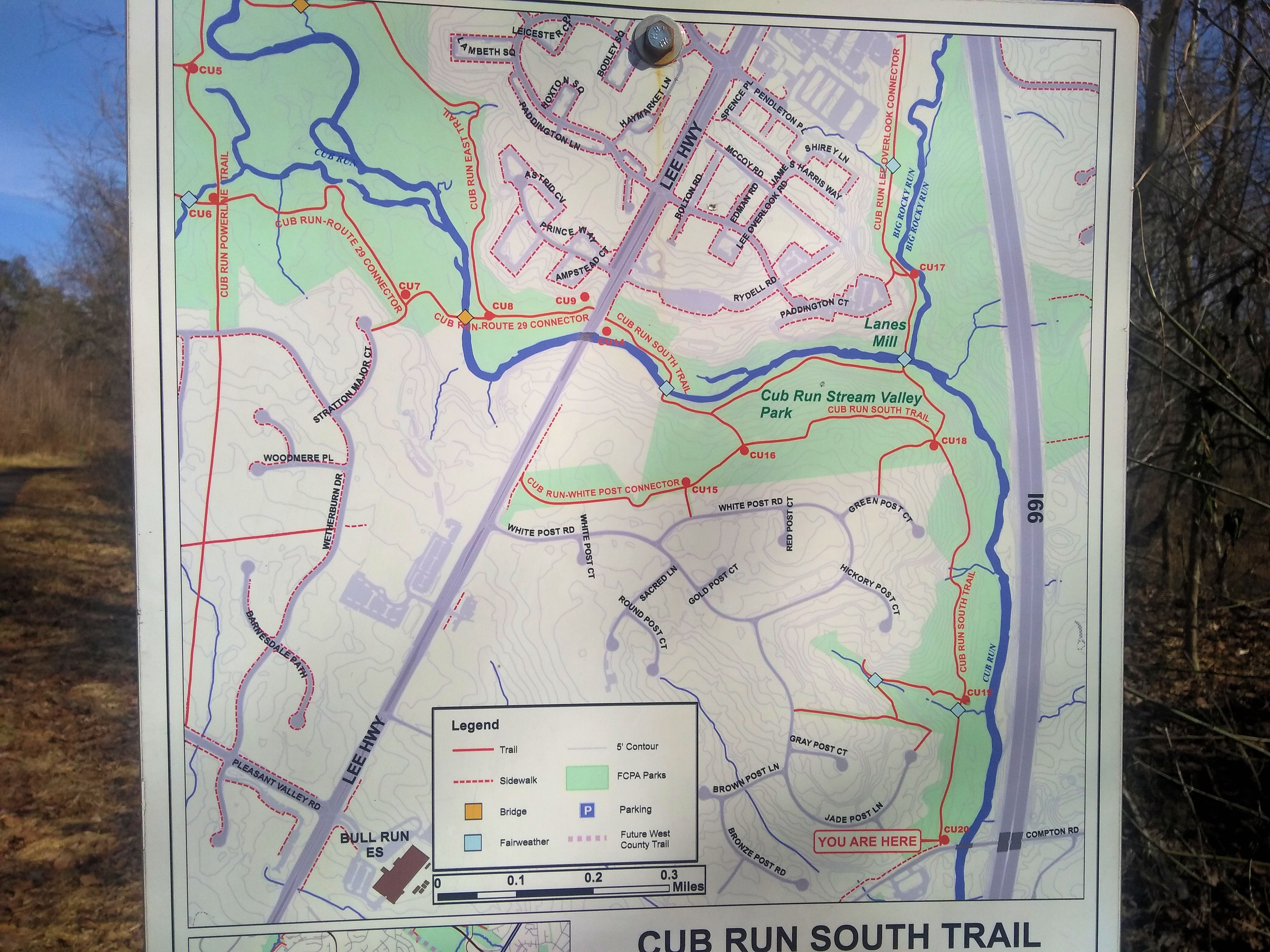 Cub Run S Trailhead Sign