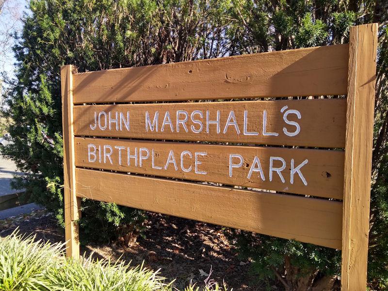 Sign @ Marshall Birthplace Park, VA
