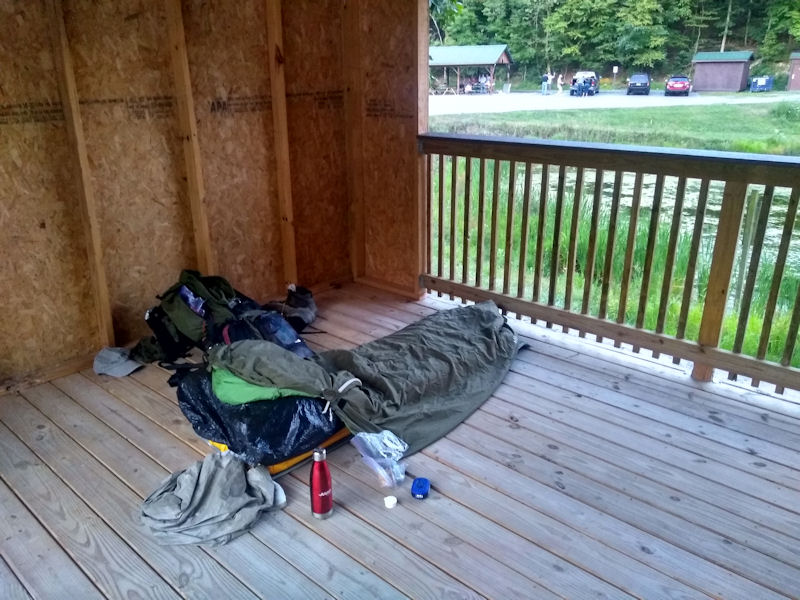 I slept in a shelter the 1st night