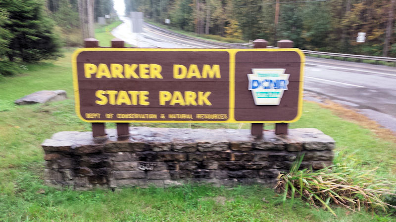 Parker Dam State Park sign, PA