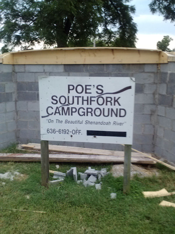 Sign @ Poes South Fork Campground, VA