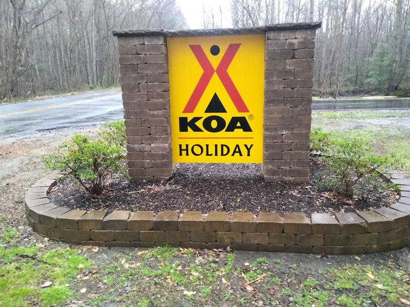 Sign @ KOA FBurg, VA
