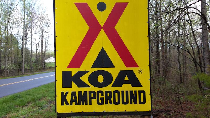 Sign @ KOA Charlottesville, VA