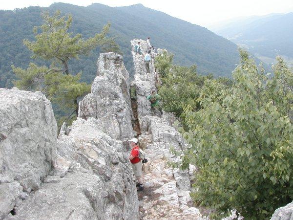 View along top of Seneca Rocks, WV