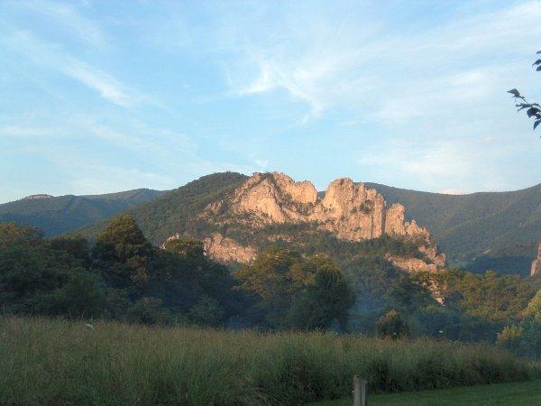 Seneca Rocks, WV at dusk